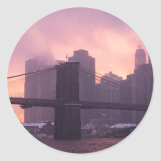 Brooklyn Bridge During Snowstorm Classic Round Sticker