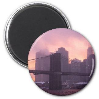 Brooklyn Bridge During Snowstorm Fridge Magnets