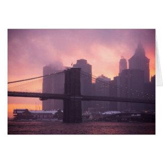 Brooklyn Bridge During Snowstorm Greeting Card