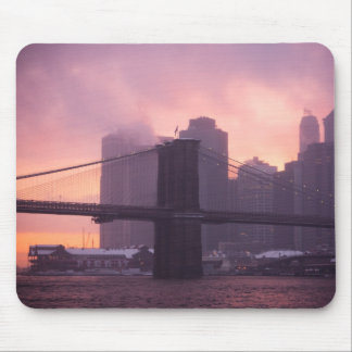 Brooklyn Bridge During Snowstorm Mouse Pads