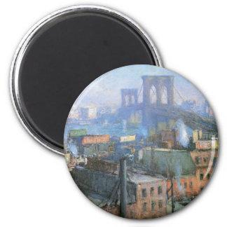 Brooklyn Bridge, East River, circa 1916 2 Inch Round Magnet