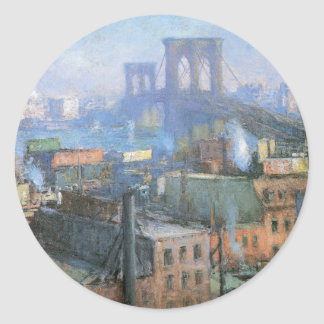 Brooklyn Bridge, East River, circa 1916 Classic Round Sticker