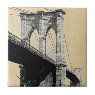 Brooklyn Bridge Ferry Boats 1896 Tile