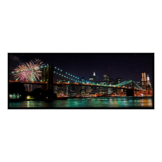 Brooklyn Bridge fireworks Poster