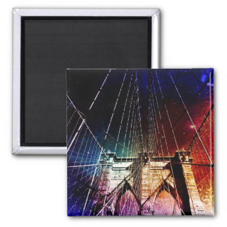 Brooklyn Bridge - Galaxies - NYC 2 Inch Square Magnet