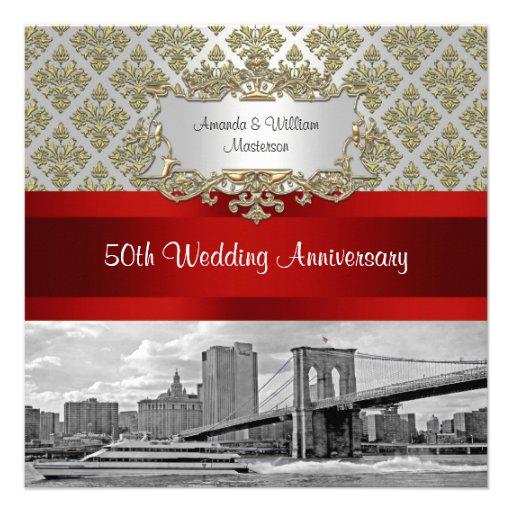 Brooklyn Bridge Gold White Damask 50th Anniv Custom Invites
