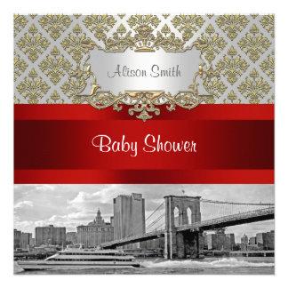 Brooklyn Bridge Gold White Damask Baby Shower Custom Invitation