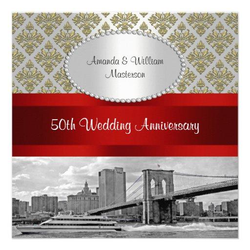 Brooklyn Bridge Gold White Damask P 50th Anniv Custom Invite
