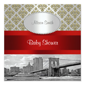 Brooklyn Bridge Gold White Damask P Baby Shower Card
