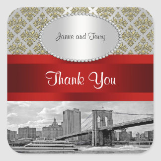Brooklyn Bridge Gold White Damask P Thank You Square Sticker