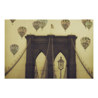 Brooklyn Bridge Hot Air Balloons Poster