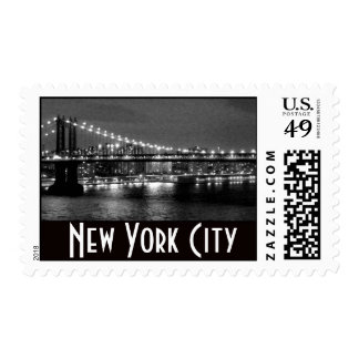 Brooklyn Bridge in black and white at Night Postage Stamp