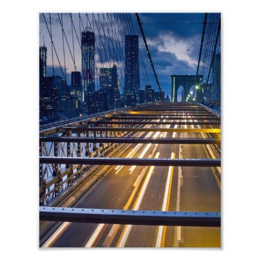 Brooklyn Bridge Lights at Night Photograph