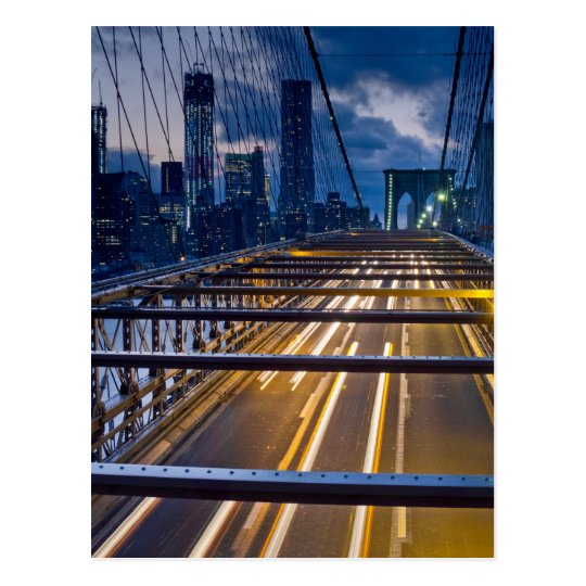 Brooklyn Bridge Lights at Night Postcard