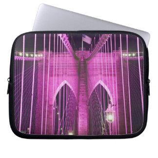 Brooklyn Bridge Lit Purple Laptop Sleeves