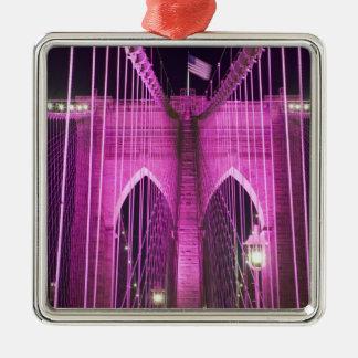Brooklyn Bridge Lit Purple Metal Ornament
