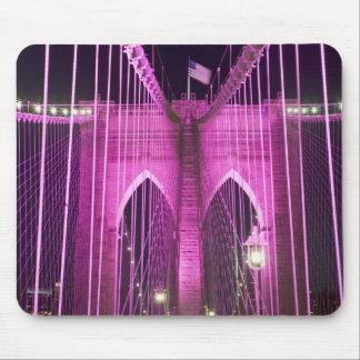 Brooklyn Bridge Lit Purple Mouse Pad