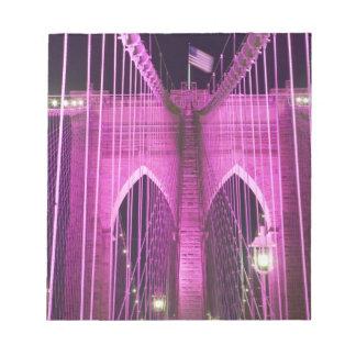 Brooklyn Bridge Lit Purple Notepad