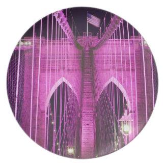 Brooklyn Bridge Lit Purple Party Plate