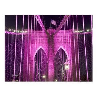 Brooklyn Bridge Lit Purple Postcard