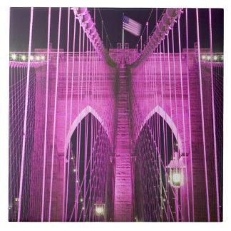 Brooklyn Bridge Lit Purple Tile