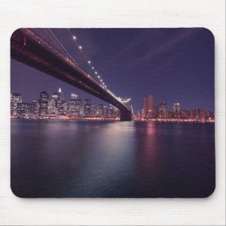 Brooklyn Bridge, Manhattan Lights, East River, NYC Mouse Pad