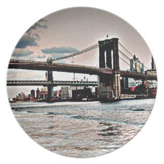 Brooklyn Bridge Melamine Plate