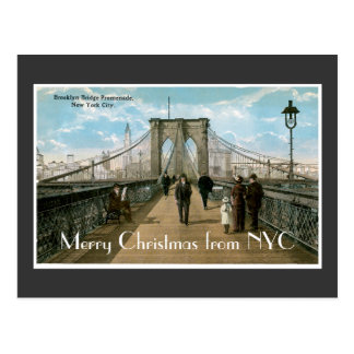 Brooklyn Bridge Merry Christmas Postcard