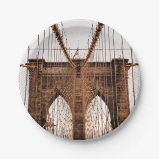 Brooklyn Bridge, New York 7 Inch Paper Plate