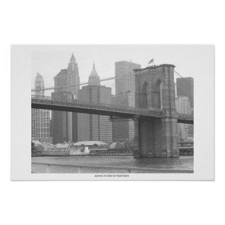 Brooklyn Bridge New York, B&W color flag Poster