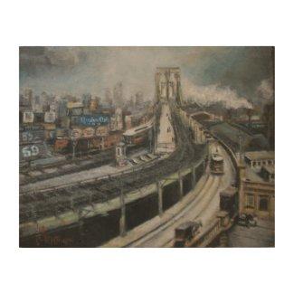 Brooklyn Bridge New York City Fine Art Painting Wood Wall Art