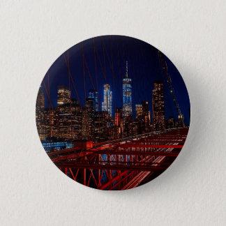 Brooklyn Bridge New York City Night Lights Button
