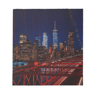 Brooklyn Bridge New York City Night Lights Notepad