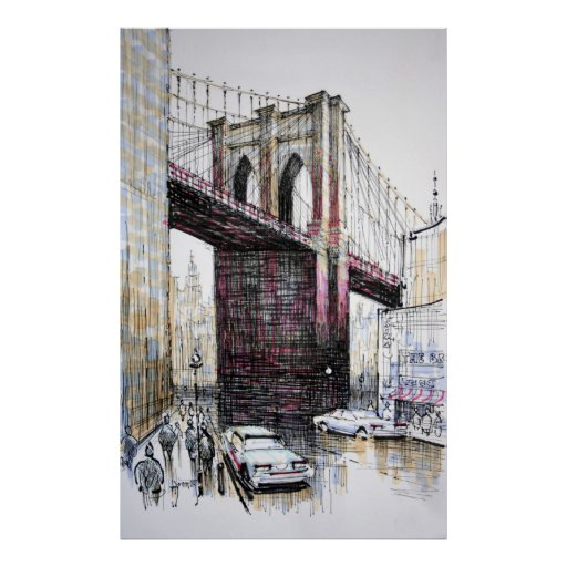 brooklyn bridge new york poster print poster zazzle. Black Bedroom Furniture Sets. Home Design Ideas
