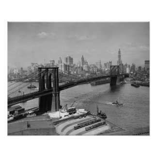 Brooklyn Bridge & New York Skyline, 1920 Poster