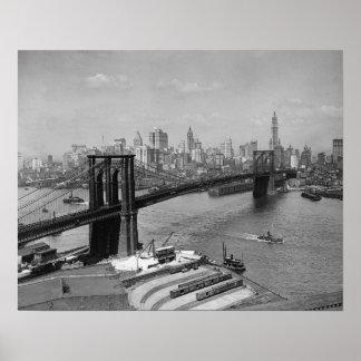 Brooklyn Bridge & New York Skyline, 1920. Vintage Poster