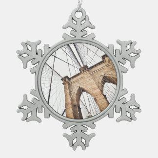Brooklyn Bridge, New York Snowflake Pewter Christmas Ornament