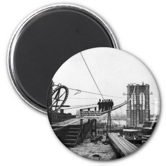 Brooklyn Bridge New York Vintage 1878 Photo 2 Inch Round Magnet