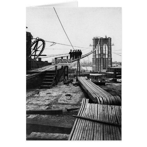 Brooklyn Bridge New York Vintage 1878 Photo Greeting Card