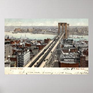 Brooklyn Bridge NY 1907 Vintage Poster