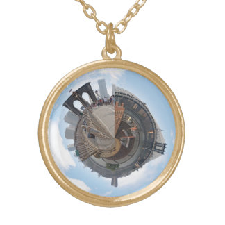 Brooklyn Bridge NYC 360 Degree Panorama Gold Plated Necklace