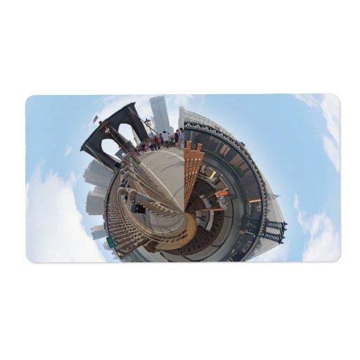 Brooklyn Bridge NYC 360 Degree Panorama Personalized Shipping Label