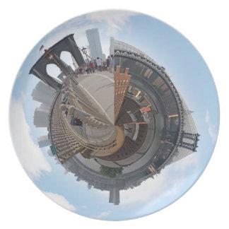 Brooklyn Bridge NYC 360 Degree Panorama Party Plate