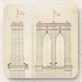 Brooklyn Bridge NYC architecture blueprint vintage Coasters