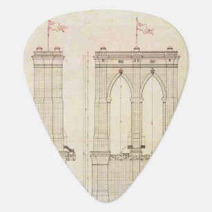 Blueprint guitar picks guitar accessories zazzle brooklyn bridge nyc architecture blueprint vintage guitar pick malvernweather Choice Image