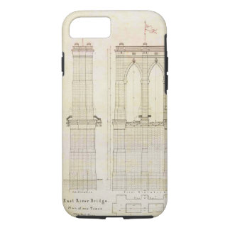 Brooklyn Bridge NYC architecture blueprint vintage iPhone 8/7 Case