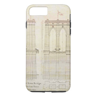 Brooklyn Bridge NYC architecture blueprint vintage iPhone 8 Plus/7 Plus Case