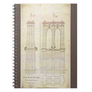 Brooklyn Bridge NYC architecture blueprint vintage Notebook