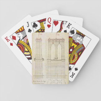 Brooklyn Bridge NYC architecture blueprint vintage Playing Cards