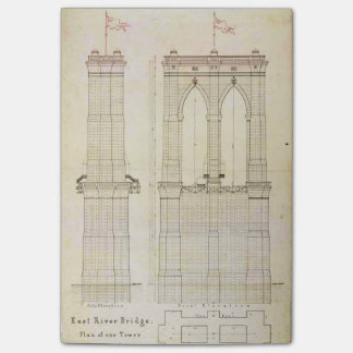 Brooklyn Bridge NYC architecture blueprint vintage Post-it Notes